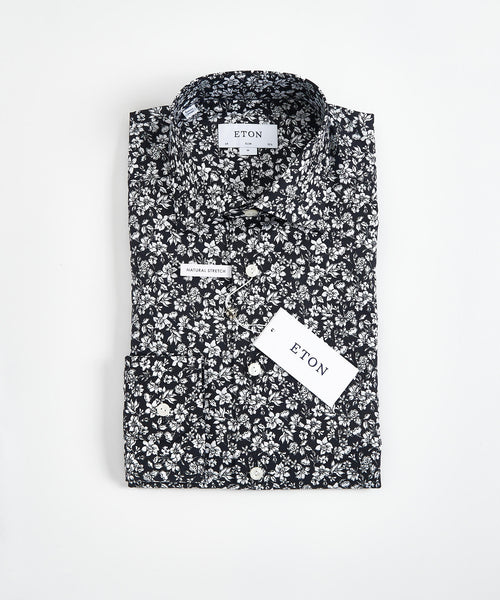 FLORAL PRINT CONTEMPORARY FIT SHIRT / BLACK