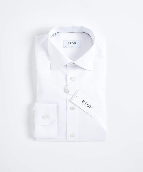 SIGNATURE TWILL CONTEMPORARY FIT SHIRT / WHITE