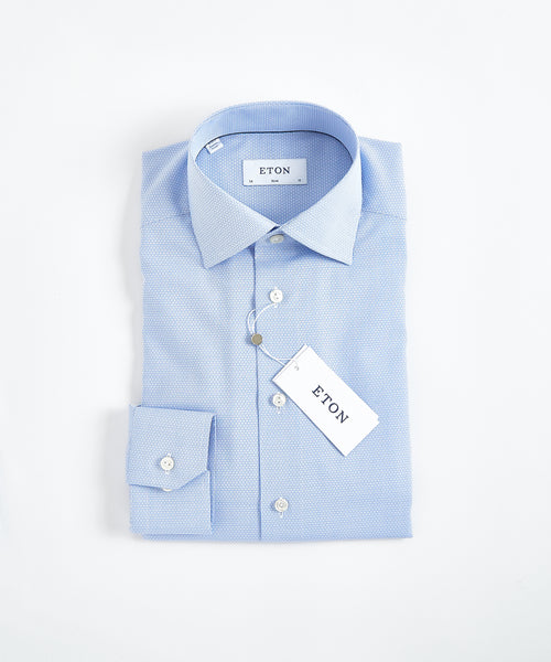 GEOMETRIC COTTON-TENCEL SLIM SHIRT / LIGHT BLUE