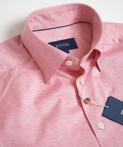 HIDDEN BUTTON DOWN JERSEY SLIM SHIRT / PINK
