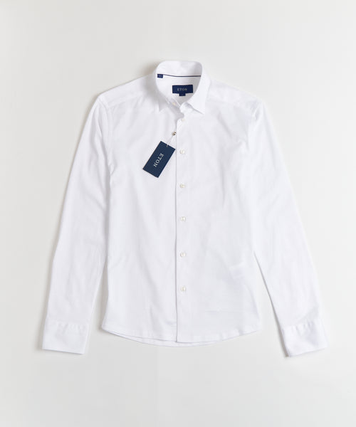 HIDDEN BUTTON DOWN JERSEY SLIM SHIRT / WHITE