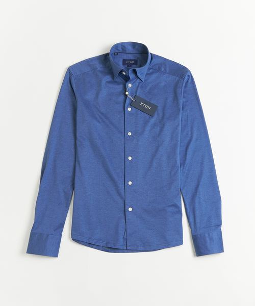 HIDDEN BUTTON DOWN JERSEY SLIM SHIRT / BLUE