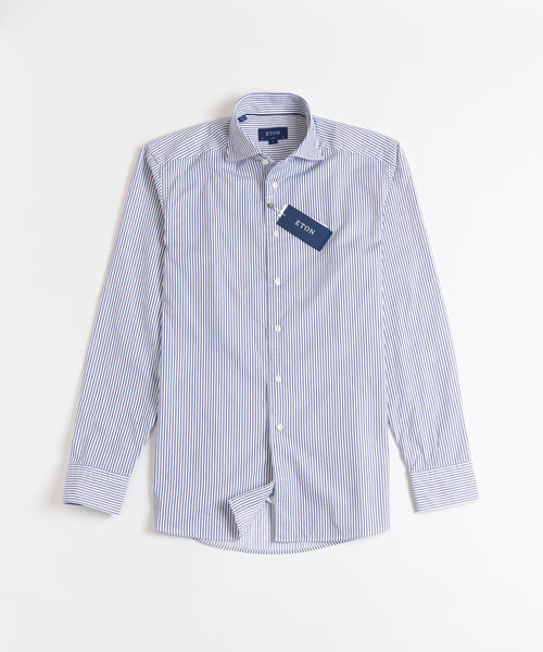 SOFT STRIPED SLIM SHIRT / BLUE