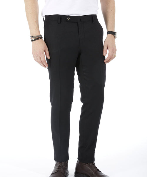 LUXURY STRETCH WOOL TWILL TROUSERS / BLACK