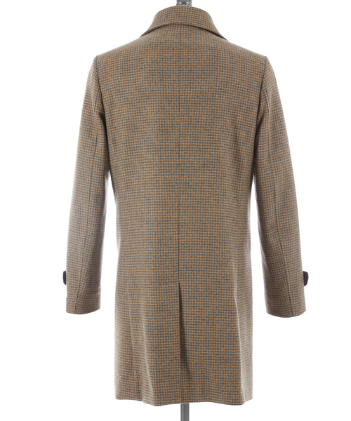 HOUNDSTOOTH WOOL TOPCOAT / CAMEL/GREY