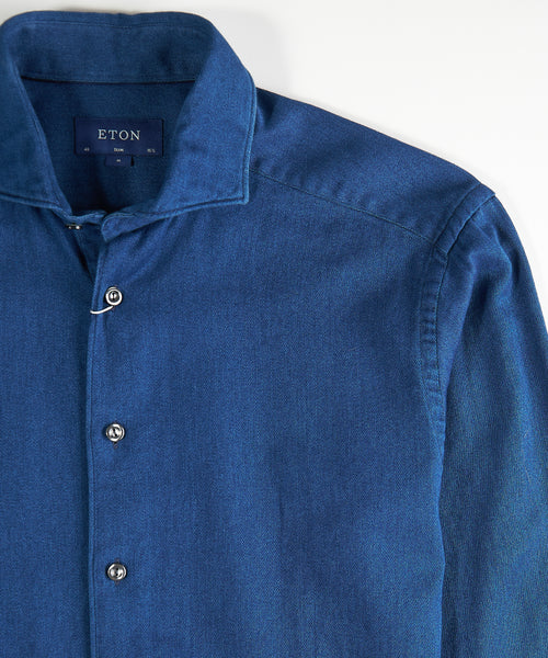 SATIN INDIGO SLIM DENIM SHIRT / INDIGO