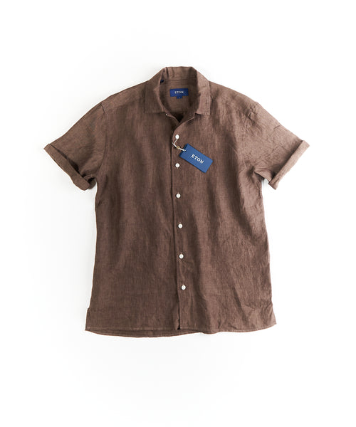 RESORT LINEN RELAXED SHIRT / BROWN