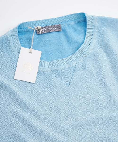 ICED GARMENT DYED SHORT SLEEVE CREW NECK / LIGHT BLUE