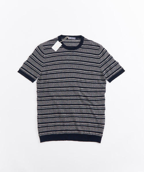 LIGHTWEIGHT CROCHETED SHORT SLEEVE CREWNECK / NAVY