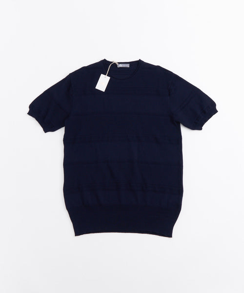 ROLLED EDGE TONAL STRIPE SHORT SLEEVE KNIT SHIRT / NAVY