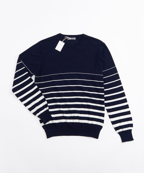LONG SLEEVE HORIZONTAL STRIPE CREWNECK / NAVY