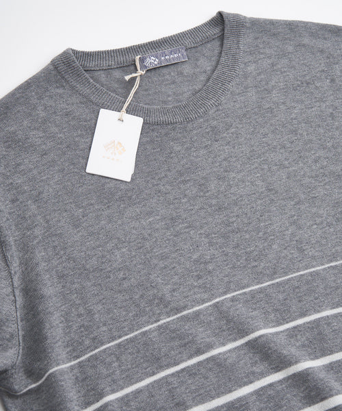 LONG SLEEVE HORIZONTAL STRIPE CREWNECK / GREY