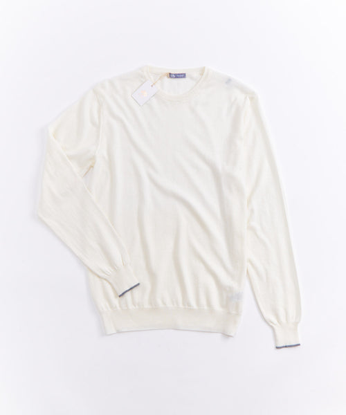 LONG SLEEVE SOLID KNIT CREWNECK / IVORY