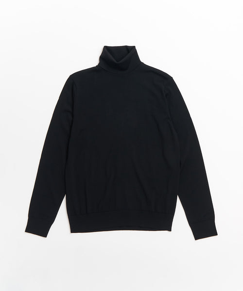SUPER 140'S EXTRAFINE MERINO WOOL 30G TURTLENECK / BLACK