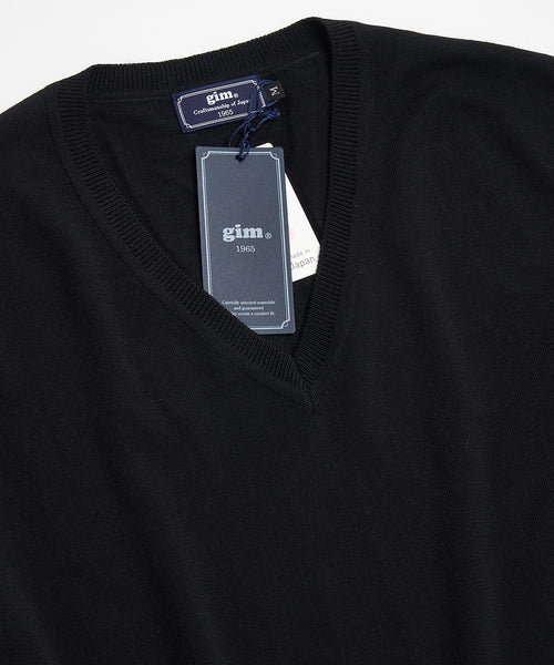 SUPER 140'S EXTRAFINE MERINO WOOL 30G V NECK / BLACK