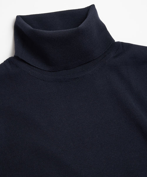 SUPER 140'S EXTRAFINE MERINO WOOL 30G TURTLENECK / NAVY
