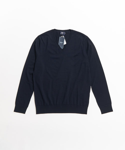 SUPER 140'S EXTRAFINE MERINO WOOL 30G V NECK / NAVY