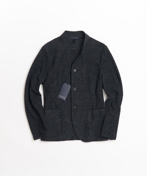 TWILLED TERRY NEHRU JACKET / BLUE