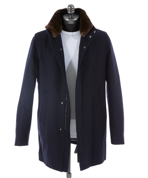 BEAVER COLLAR TECH TOPCOAT / NAVY