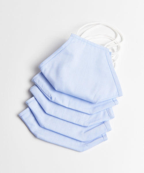 5 PCS PLAIN  REUSABLE NON-MEDICAL MASK / LIGHT BLUE