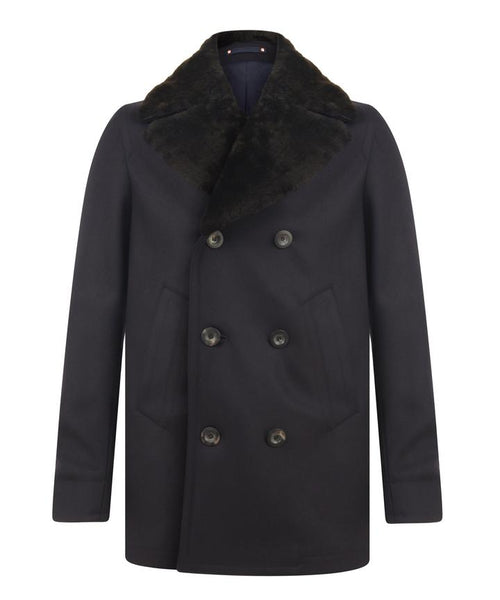 THE SHEARLING COLLAR PEACOAT / NAVY