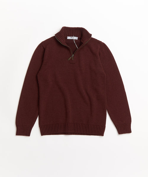PLATED ZIP MOCK SWEATER / BERRY