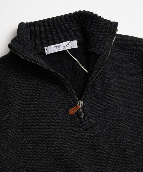 PLATED ZIP MOCK SWEATER / CHARCOAL