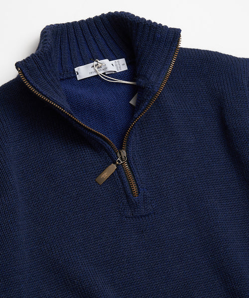 PLATED ZIP MOCK SWEATER / NAVY