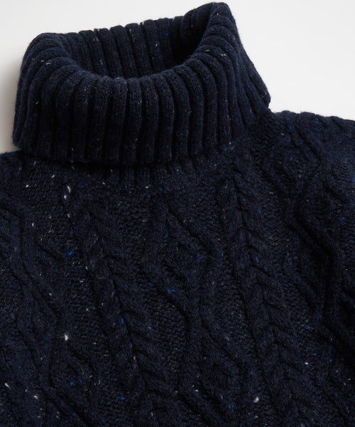 DONEGAL ARAN CABLE TURTLENECK / NAVY