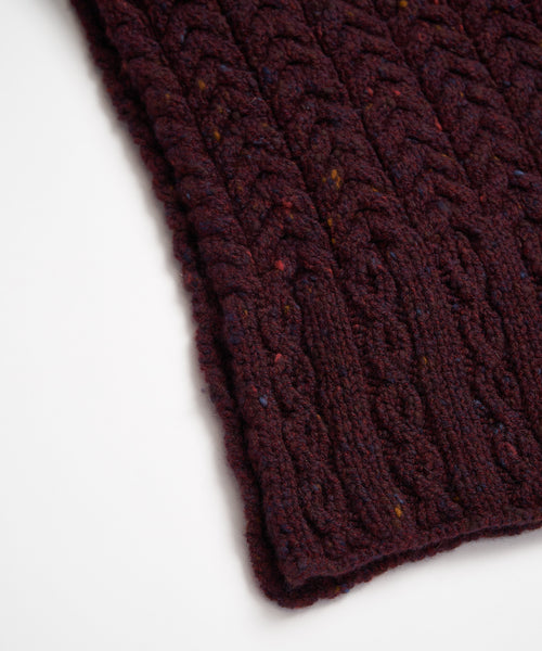 WOOL & CASHMERE ARAN CABLE SCARF / BURGUNDY