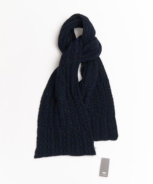 WOOL & CASHMERE ARAN CABLE SCARF / NAVY