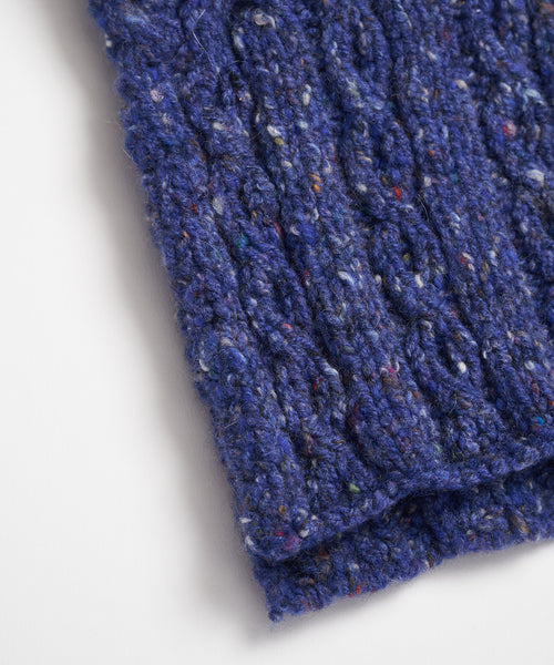 Inis Meáin Blue Wool & Cashmere Aran Cable Scarf