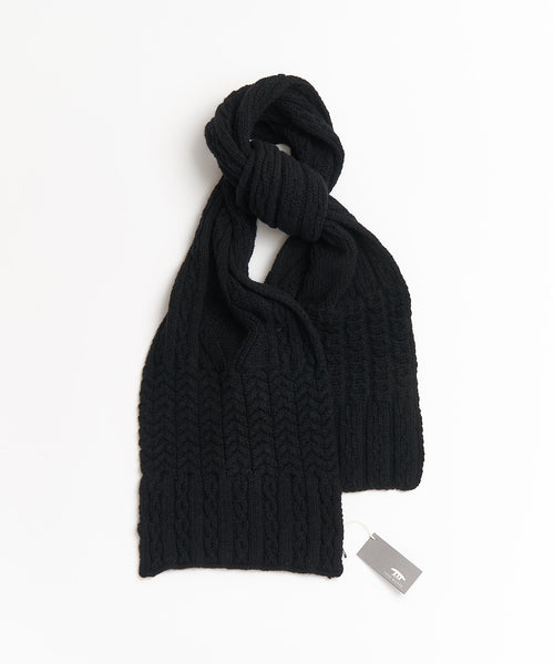 Inis Meáin Black Wool & Cashmere Aran Cable Scarf A2084-NERO