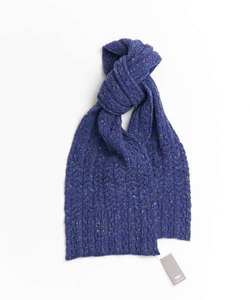Inis Meáin Blue Wool & Cashmere Aran Cable Scarf A2084-PRUSSIA