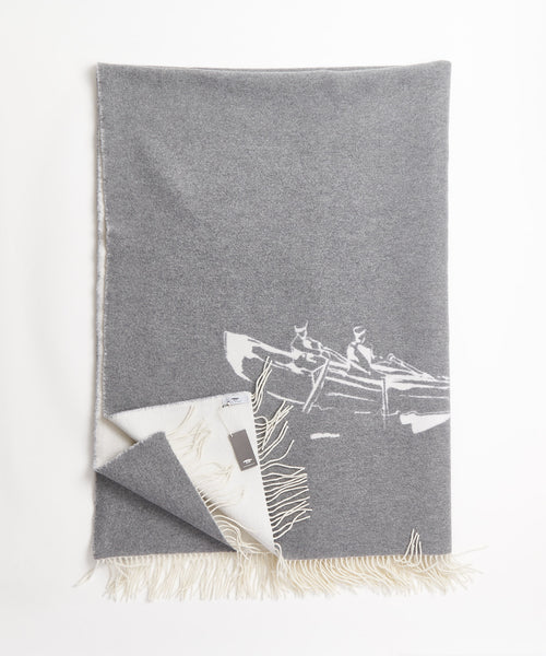 Inis Meáin Limited Edition Cream Keating Merino Wool Blanket A1988-CREAM/GREY