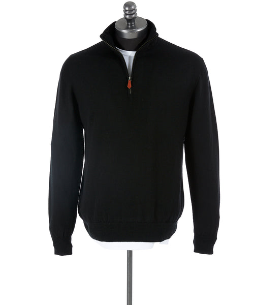 Inis Meáin Black Wool Quarter Zip Sweater