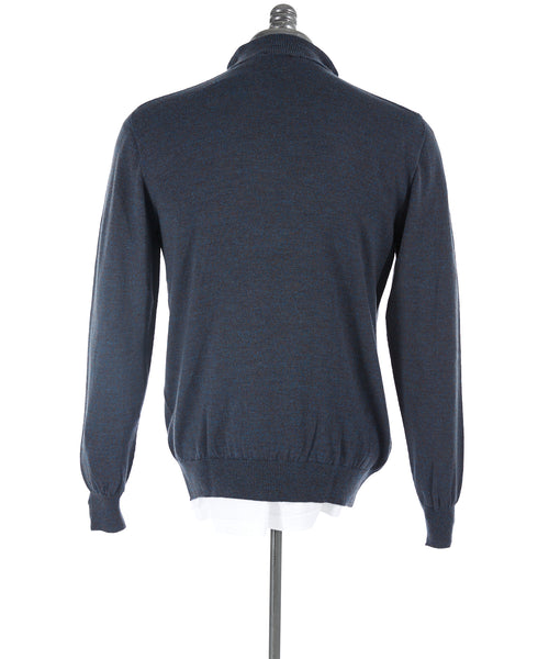 Inis Meáin Blue Wool Quarter Zip Sweater A1793