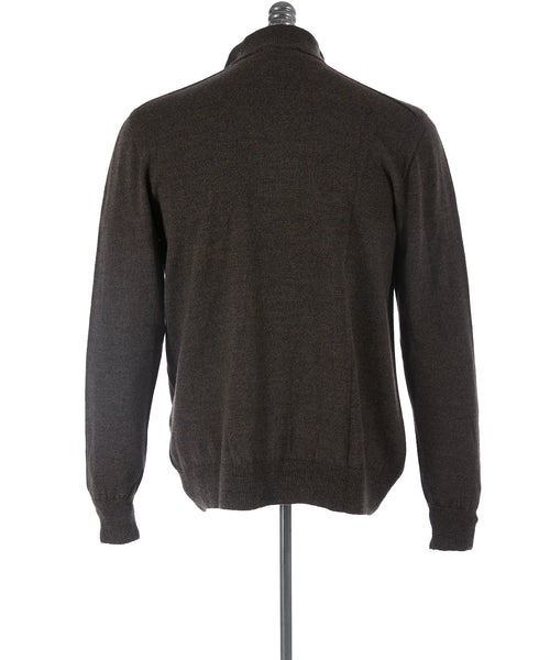 Inis Meáin Brown Comeragh Wool Quarter Zip Sweater