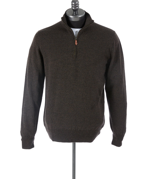 Inis Meáin Brown Wool Quarter Zip Sweater