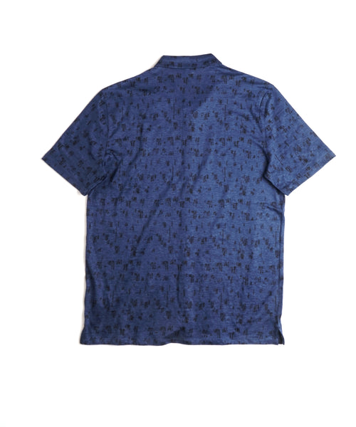 EASY FIT KNIT LINEN SHIRT / NAVY