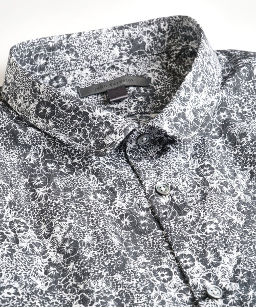 WIRE COLLAR FLORAL SHIRT / BLACK