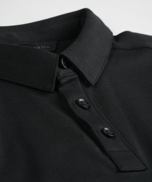 'BURLINGTON' INTERLOCK PIMA POLO / BLACK