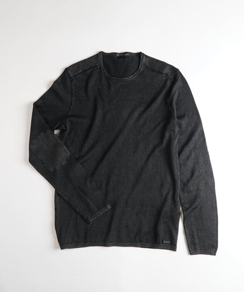 ACID WASH CREW NECK PULLOVER / BLACK