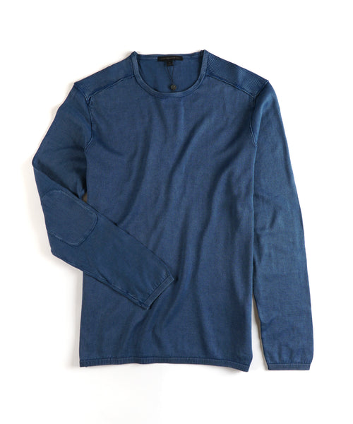ACID WASH CREW NECK PULLOVER / BLUE