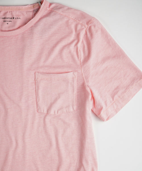 'AMES' RAW BURNOUT T-SHIRT / PINK