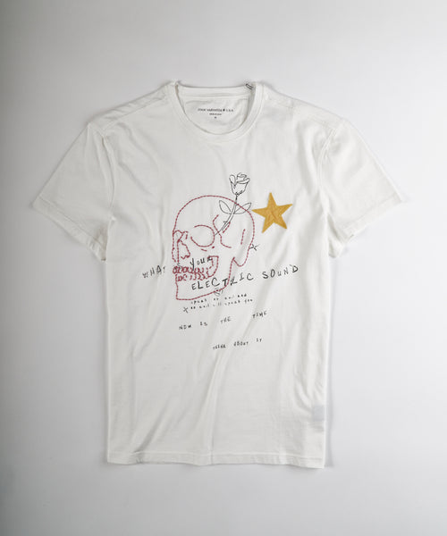 SKULL EMBROIDERY T-SHIRT / WHITE