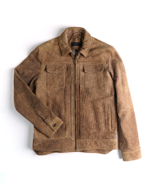'TRAVIS' LEATHER TRUCKER JACKET / SAND