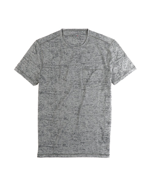 SHORT SLEEVE BURNOUT CREW NECK T-SHIRT / GREY