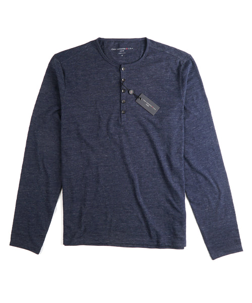 MELANGE 5 BUTTON LONG SLEEVE HENLEY / MIDNIGHT