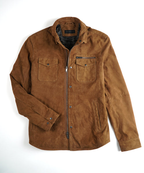 'SHILO' LIGHT SUEDE SHIRT JACKET / BROWN